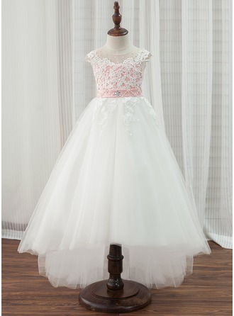 A-Line/Princess Asymmetrical Flower Girl Dress - Tulle/Lace Sleeveless Scoop Neck With Beading