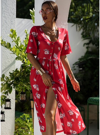 Floral Print Shift Short Sleeves Midi Casual Dresses