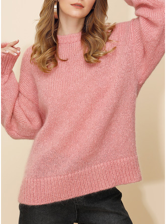 Round Neck Casual Oversized Solid Chunky knit Sweaters