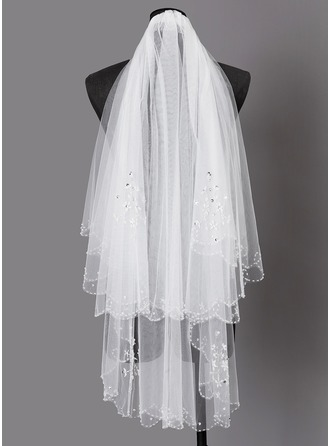 Two-tier Beaded Edge Elbow Bridal Veils With Beading
