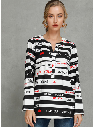 Print Long Sleeves Polyester V Neck Блузы
