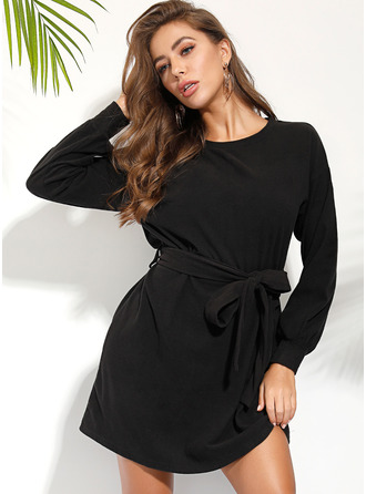 Solid A-line Long Sleeves Mini Little Black Casual Elegant Skater Dresses