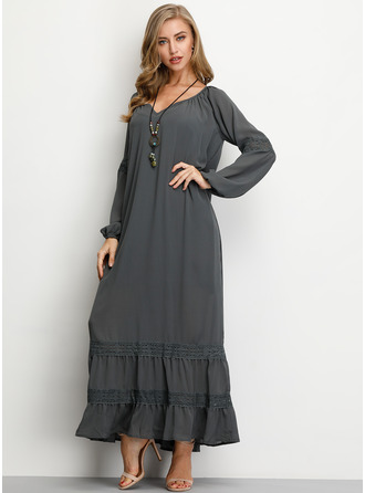 Solid Shift Long Sleeves Maxi Boho Casual Vacation Dresses