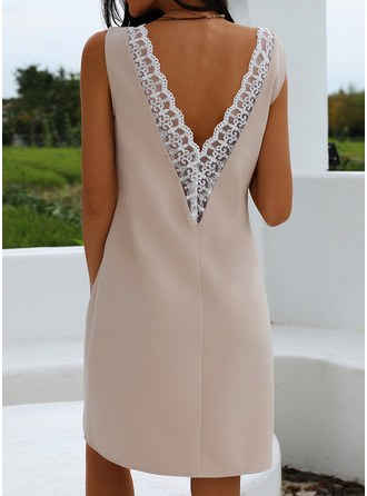 Lace Solid Sheath Sleeveless Mini Party Sexy Tank Dresses