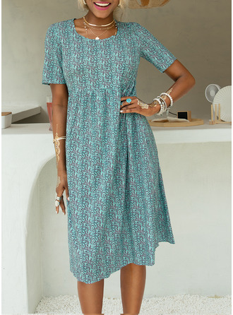 Knee Length Round Neck Polyester Print Short Sleeves Fashion Dresses