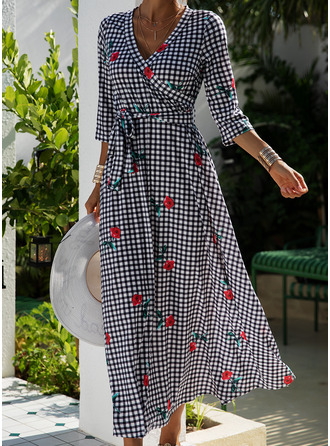Floral Plaid Print A-line Long Sleeves Maxi Casual Elegant Skater Dresses