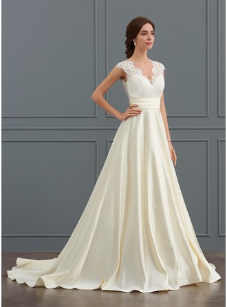 Ball-Gown V-neck Court Train Satin Wedding Dress With Ruffle
