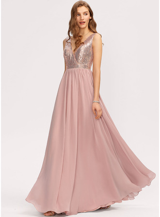 V-Neck Dusty Rose Chiffon Sequined Dresses
