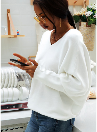Solid Long Sleeves Batwing Sleeves Cotton Blends V Neck Knit Blouses