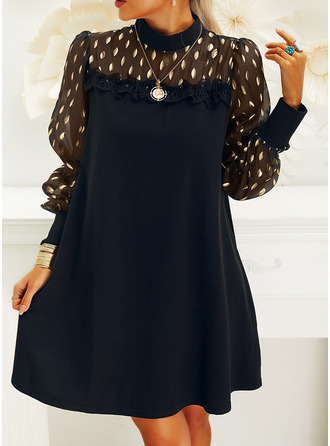 Lace Solid Shift Long Sleeves Mini Little Black Party Elegant Dresses