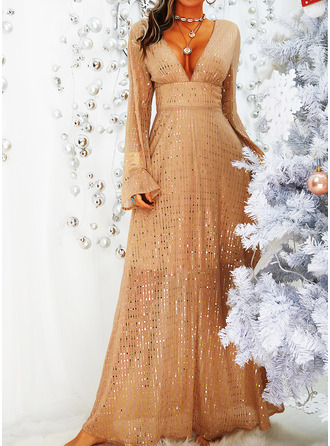 Sequins Solid V-Neck Long Sleeves Maxi Dresses