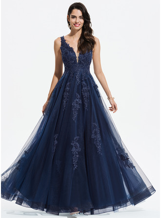 e8f2a9473b4 A-Line V-neck Floor-Length Tulle Prom Dresses With Lace Sequins