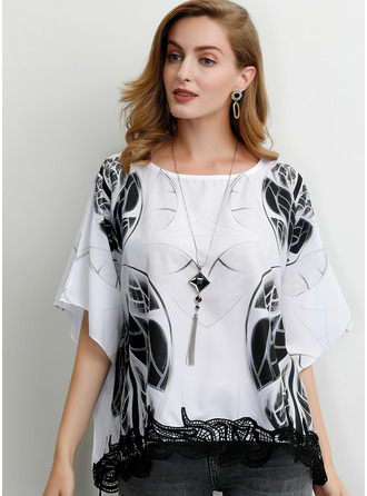 Lace Print Round Neck 1/2 Sleeves Batwing Sleeves Casual