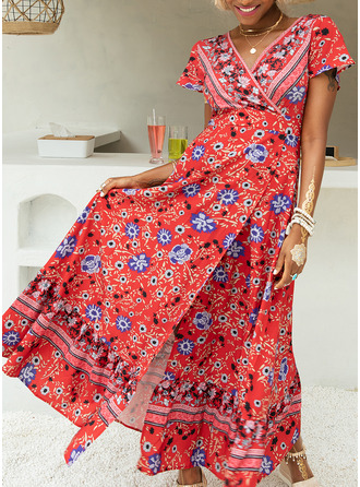 Floral Print A-line Short Sleeves Maxi Boho Casual Vacation Skater Wrap Dresses