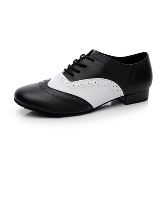 Men's Real Leather Flats Latin Ballroom Swing Practice Character Shoes With Lace-up Dance Shoes