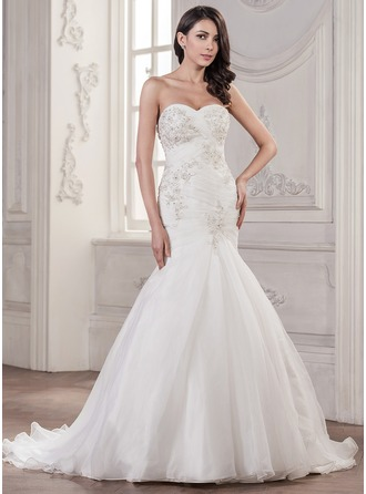 Trumpet/Mermaid Sweetheart Court Train Organza Wedding Dress With Ruffle Beading Appliques Lace Sequins