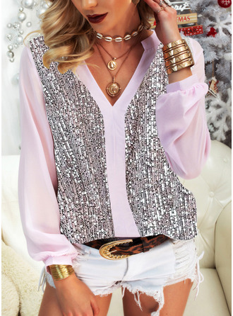 Sequins V-Neck Long Sleeves Casual Blouses (1003255195)