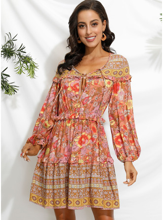 Floral Print A-line Lantern Sleeve Long Sleeves Mini Boho Casual Vacation Skater Dresses