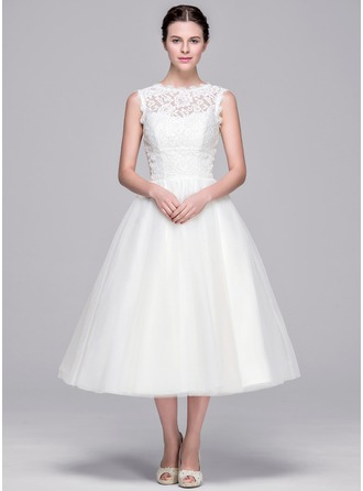 A-Line/Princess Sweetheart Tea-Length Tulle Lace Wedding Dress