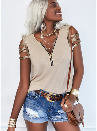 Solid Cold Shoulder Short Sleeves Casual Blouses