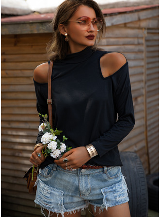Solid Cold Shoulder Long Sleeves Sweatshirt