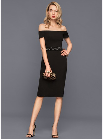Sheath/Column Off-the-Shoulder Knee-Length Stretch Crepe Cocktail Dress With Beading Sequins