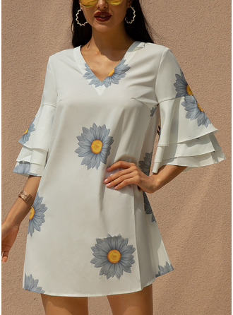 Above Knee V neck Chiffon Print 3/4 Sleeves/Flare Sleeves Fashion Dresses
