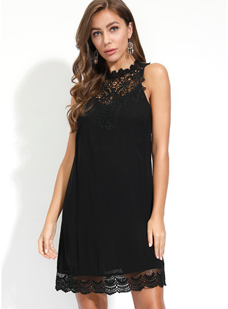 Lace Solid Shift Sleeveless Mini Little Black Casual Dresses