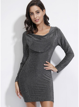 Above Knee V neck Polyester Solid Long Sleeves Fashion Dresses