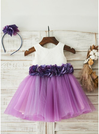 A-Line/Princess Knee-length Flower Girl Dress - Tulle/Lace Sleeveless Scoop Neck With Lace/Flower(s) (Including a headpiece)