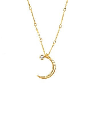 18k Gold Plated Silver Moon Pendant Necklace With Diamond