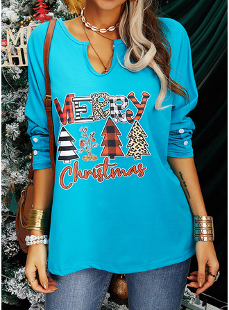 Figure Print V-Neck Long Sleeves Casual Christmas Blouses
