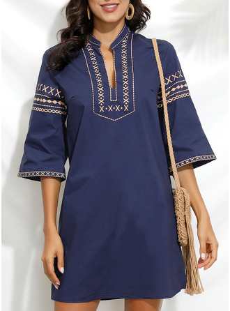 Print Shift 3/4 Sleeves Midi Boho Casual Vacation Tunic Dresses