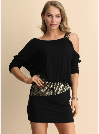 Above Knee One Shoulder Cotton/Acrylic Long Sleeves Sequins/Solid Fashion Dresses