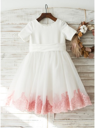 A-Line/Princess Knee-length Flower Girl Dress - Satin/Tulle/Lace Short Sleeves Scoop Neck With Bow(s) (Undetachable sash)
