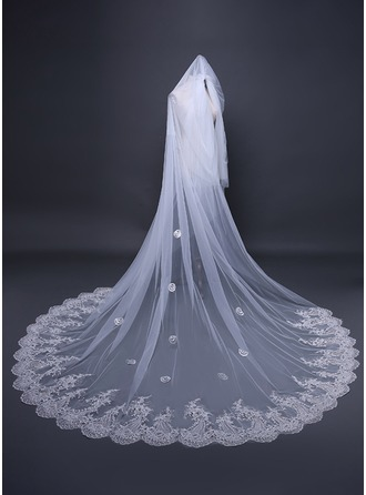 Two-tier Lace Applique Edge Cathedral Bridal Veils With Applique/Lace