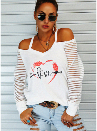 Figure Print Heart Cold Shoulder Long Sleeves Casual Blouses