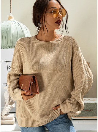 Round Neck Casual Solid Chunky knit Ribbed Sweaters