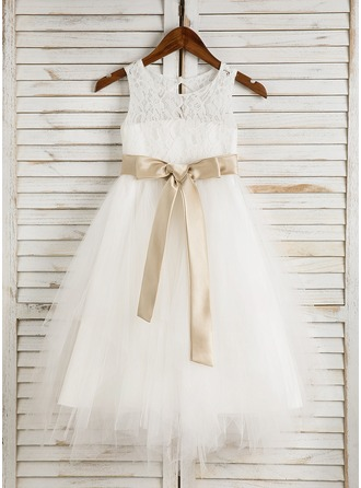A-Line/Princess Tea-length Flower Girl Dress - Satin/Tulle/Lace Sleeveless Scoop Neck With Sash/Bow(s)/Back Hole