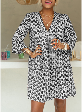 Print Shift Flare Sleeve Long Sleeves Mini Casual Vacation Tunic Dresses