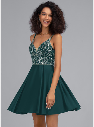 A-Line V-neck Short/Mini Satin Homecoming Dress With Beading Sequins Pockets