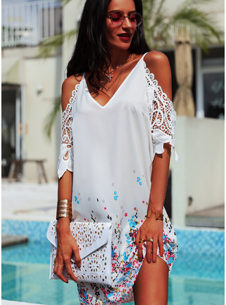 Floral Lace Print Shift 3/4 Sleeves Cold Shoulder Sleeve Mini Casual Tunic Dresses