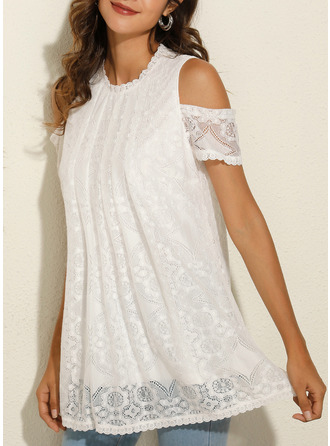Lace Solid Cold Shoulder Short Sleeves Casual