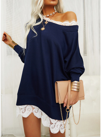 Lace Shift Long Sleeves Mini Casual Tunic Dresses