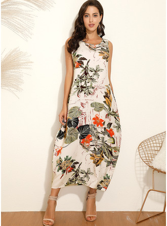 Maxi Round Neck Polyester Print Sleeveless Fashion Dresses