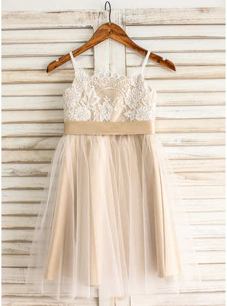 A-Line/Princess Knee-length Flower Girl Dress - Tulle/Lace Sleeveless Straps With Sash/Bow(s) (Undetachable sash)