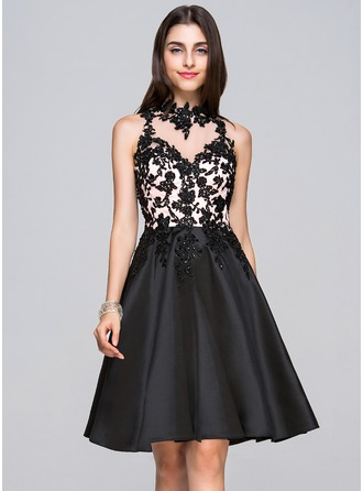 A-Line/Princess High Neck Knee-Length Satin Lace Homecoming Dress With Beading Sequins