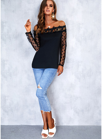 Solid Off the Shoulder Long Sleeves Sexy