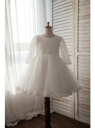 A-Line/Princess Knee-length Flower Girl Dress - Satin/Lace Long Sleeves Scoop Neck With Bow(s)