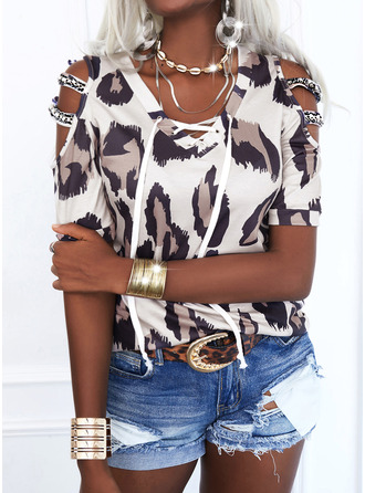 Beaded Leopard Print Lace-up Cold Shoulder 1/2 Sleeves Casual Blouses